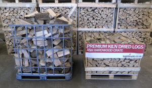 Our Small 1m3 Crate emptied in to an IBC cage to demonstrate the difference between stacked and loose volumes